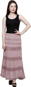 Iwonder Solid Women's Regular Pink Skirt