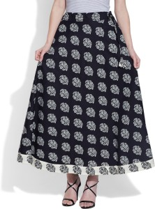 Very Me Printed Women's Pleated Black Skirt