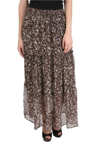 MansiCollections Printed Women's A-line Brown, White Skirt