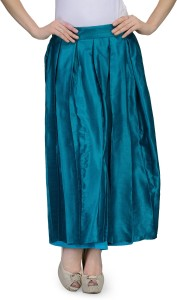 Natty India Solid Women's Pleated Blue Skirt