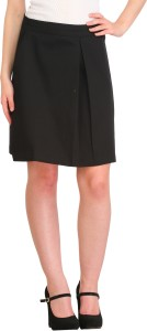Cottinfab Solid Women's Pleated Black Skirt