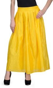 Natty India Solid Women's Pleated Yellow Skirt