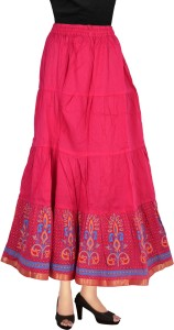 Magnus Self Design Women's Regular Pink Skirt