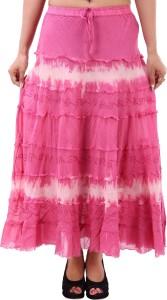 Iwonder Printed Women's A-line Pink Skirt