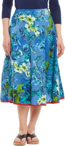 Very Me Printed Women's Pleated Blue Skirt