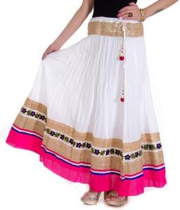 Ooltah Chashma Self Design Women's Broomstick White, Pink Skirt