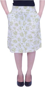 Parv Collections Printed Women's Layered White Skirt