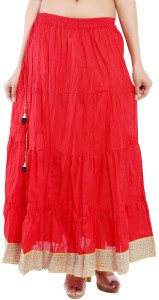 Magnus Solid Women's Regular Red Skirt