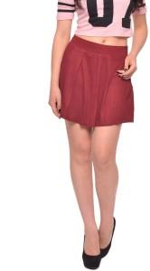 Vvoguish Solid Women's Pleated Maroon Skirt