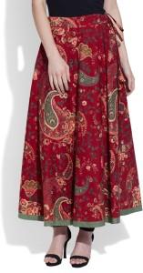 Very Me Printed Women's Pleated Maroon Skirt