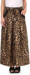 Natty India Animal Print Women's Straight Brown Skirt