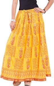 Magnus Self Design Women's Regular Yellow Skirt
