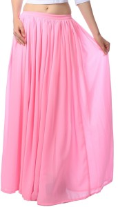 Scorpius Solid Women's Gathered Pink Skirt