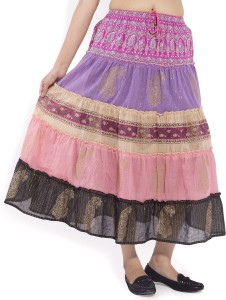 Goodwill Impex Printed Women's A-line Pink Skirt