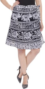 Soundarya Printed Women's Wrap Around White Skirt