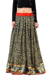 Admyrin Printed Women's Wrap Around Black Skirt