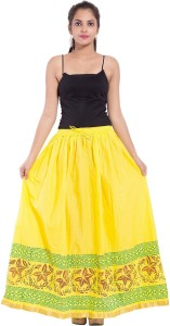 Magnus Printed Women's Regular Yellow Skirt