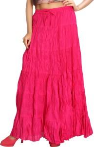 Carrel Solid Women's Broomstick Pink Skirt