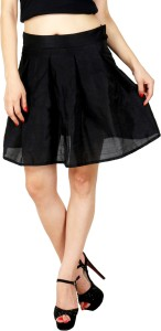 Natty India Solid Women's Pleated Black Skirt