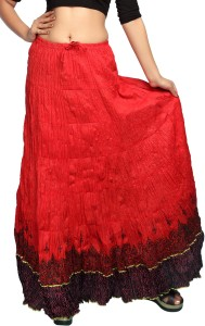 Carrel Printed Women's A-line Red Skirt