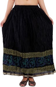 Magnus Printed Women's Regular Black Skirt