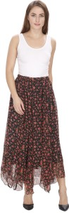 MansiCollections Floral Print Women's Gathered Black Skirt