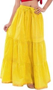 Magnus Solid Women's Regular Yellow Skirt