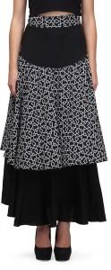 Eavan Geometric Print Women's Layered Black Skirt