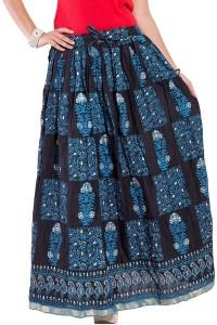 Magnus Self Design Women's Regular Black Skirt