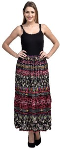 Pink Sisly Solid Women's Layered Multicolor Skirt