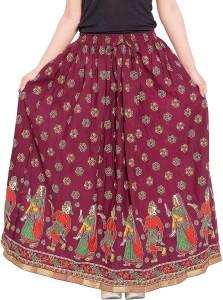 Archiecs Creation Self Design Women's Regular Maroon Skirt