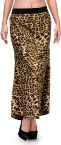 Natty India Animal Print Women's Straight Brown, Black Skirt