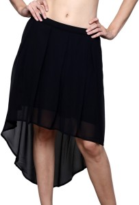 Trendsnu Solid Women's Regular Black Skirt