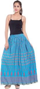 Magnus Printed Women's Regular Light Blue Skirt