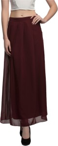 Midnight Owl Solid Women's Pleated Maroon Skirt