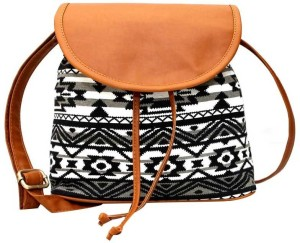 b4d06593a6c Kleio Women Black White Brown Canvas Sling Bag Best Price in India ...