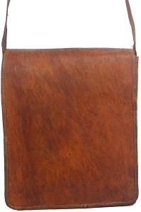 Craft World Men & Women Brown Genuine Leather Sling Bag
