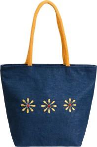 Allure Design Women Blue Jute Shoulder Bag