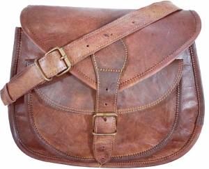 Craft World Women Brown Genuine Leather Sling Bag