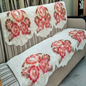 5889a6ac89e Griiham Wool Sofa Cover Off white pink Pack of 6 Best Price in India ...