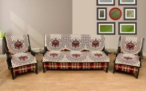 Shobhraj Cotton Sofa Cover Maroon Pack Of 6