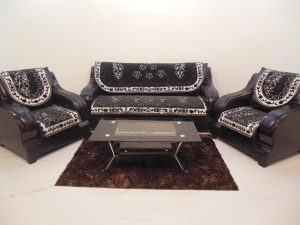 KINGLY Jacquard Sofa Cover Black Pack of 6 Best Price in India ...