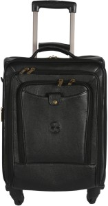 JL Collections 22 Inches Brown Leather Trolley Bag Small Travel Bag  - Large