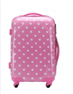 T-Bags Polka Dots Pink 4 Wheel Trolley Bag 20