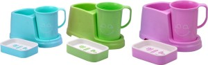 Saura SAURA BATHROOM ORGANISER WITH CUP AND SOAP DISH - BLUE-PINK-GREEN