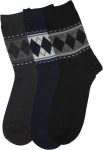 Narang Sons Men's Geometric Print Crew Length Socks