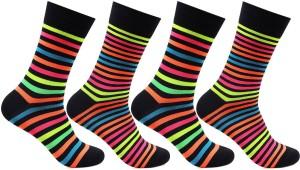 Bonjour Men's Striped Crew Length Socks