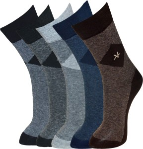 Vinenzia Men's Self Design Crew Length Socks