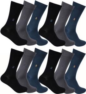 Flora Men's Solid Mid-calf Length Socks