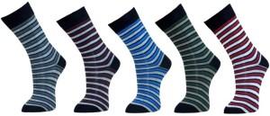 Lotus Leaf Men's Striped Footie Socks